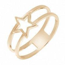 Кольцо Звезда в красном золоте