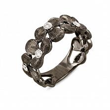 Кольцо из черного золота с бриллиантами Черная орхидея