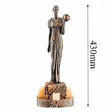 Бронзовая скульптура Урания на подставке из яшмы и оникса