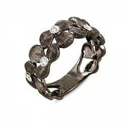 Кольцо из черного золота с бриллиантами Черная орхидея 000037856