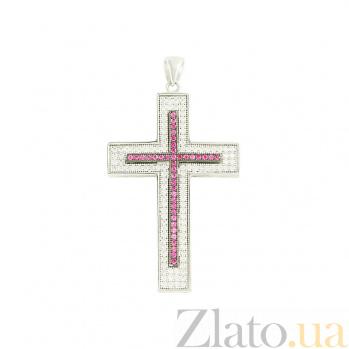Серебряный крестик с фианитами Розовое утро 3П543-0040