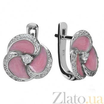 Серербряные серьги с фианитами и эмалью Мириам 3С379-0014