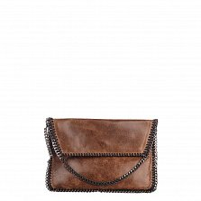 Кожаный клатч Genuine Leather 1009 коричневого цвета с цепочкой на плечо