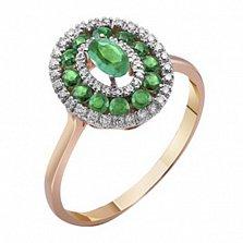 Золотое кольцо Анджали с изумрудами и бриллиантами