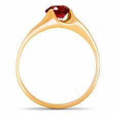 Золотое кольцо Глаз дракона с синтезированным рубином