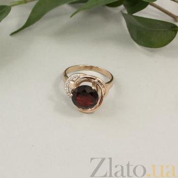 Кольцо в красном золоте Кристина с гранатом и фианитами 000032020
