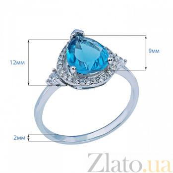 Серебряное кольцо с цирконом Капля AQA--P0425-R2-LB