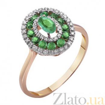 Золотое кольцо Анджали с изумрудами и бриллиантами KBL--К1015/крас/изум