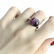 Серебряное кольцо Южная ночь с фиолетовым кошачьим глазом