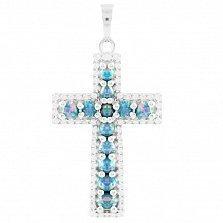 Серебряный крестик Маделин с голубым опалом и фианитами