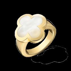 Перламутровое кольцо Alhambra в желтом золоте в стиле Ван Клиф
