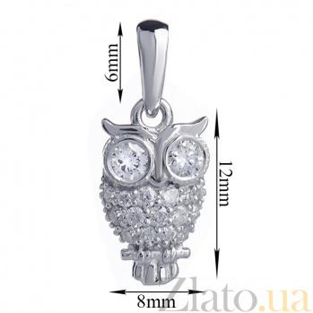 Золотой кулон с белыми бриллиантами Сова P 0731/бел/бел бр