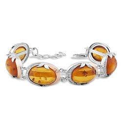 Серебряный браслет с золотыми накладками, янтарем и фианитами 000066839