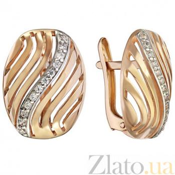 Золотые сережки с фианитами Импреза TNG--420981