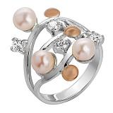 Серебряное кольцо с золотой вставкой Волна