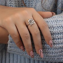 Кольцо с белым фианитом Розочка