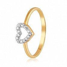 Золотое кольцо Ирина в евро цвете с фианитами