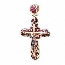 Золотой крестик Вера в вечность с эмалью
