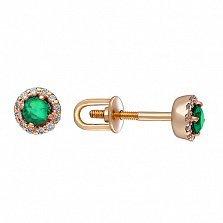 Золотые сережки-пуссеты Теодора с изумрудами и бриллиантами