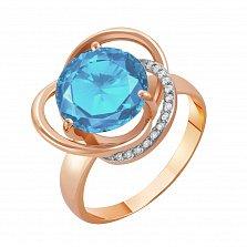 Золотое кольцо Кристина в комбинированном цвете с голубым топазом и фианитами