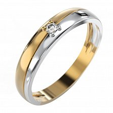 Золотое кольцо Счастье с бриллиантом