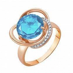 Кольцо из красного золота с голубым топазом и фианитами 000003700