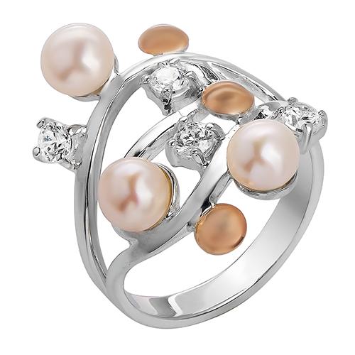 Серебряное кольцо с золотой вставкой Волна BGS--141к