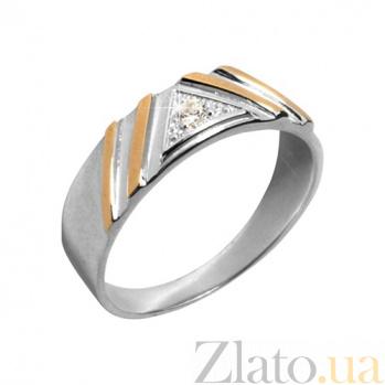 Кольцо из серебра с золотом и фианитами Боярыня BGS--370к