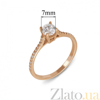 Золотое кольцо с цирконием Лунная ночь 12124