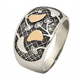 Кольцо серебряное Вишня с фианитами