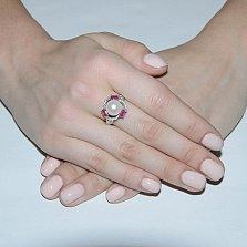 Серебряное кольцо Восточные сокровища с жемчужиной, рубинами и цирконием