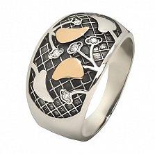 Серебряное кольцо Вишня с золотом и фианитами
