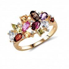 Кольцо из красного золота Радуга с синтезированным сапфиром, гранатом, хризопразом и бриллиантами