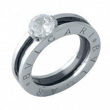 Серебряное кольцо Скай с кристаллом циркония в стиле Булгари