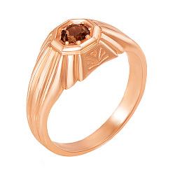 Перстень-печатка из красного золота с раухтопазом 000136867