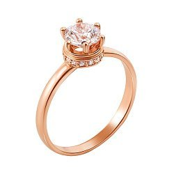 Золотое помолвочное кольцо Мальта в красном цвете с цирконием Swarovski
