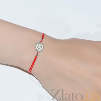 Шелковый браслет с серебряной вставкой Буква G Буква G