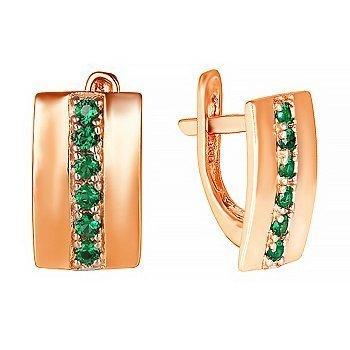 Серебряные серьги с зелеными фианитами 000024786