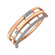 Золотое кольцо в комбинированном цвете с фианитами 000145407