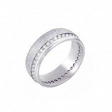 Обручальное кольцо из белого золота Юнона с кристаллами циркония