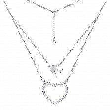 Серебряное многослойное колье Ласточка и сердце с фианитами