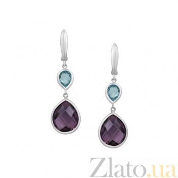Серебряные серьги-подвески Виолетта с аметистом и топазом 000081781