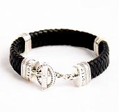 Кожаный браслет Toggle Oval с черненой серебряной застежкой