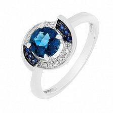 Кольцо в белом золоте Аврора с лондон топазом, бриллиантами и сапфирами
