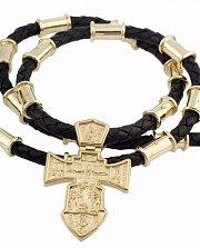 Золотой двусторонний крест на кожаном плетеном жгуте с круглыми золотыми вставками Ангел Хранитель