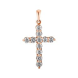 Крестик из красного золота с бриллиантами 000147790