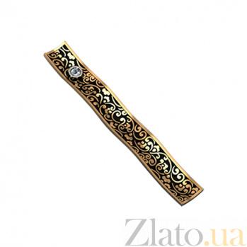 Золотой зажим для галстука с бриллиантами Кларк KBL--ЗАЖ002/крас/брил