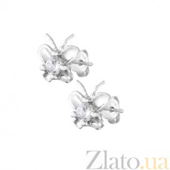 Серебряные сережки-пуссеты с цирконием Хрупкость SLX--С2Ф/491