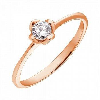 Кольцо в красном золоте с фианитом 000106196