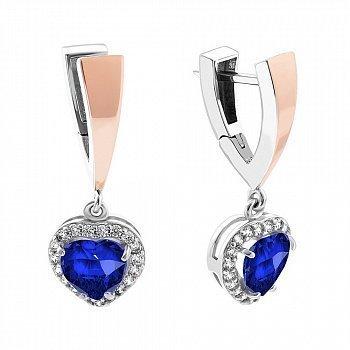 Серебряные серьги-подвески с золотой вставкой, синим алпанитом и фианитами 000094605